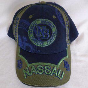 NASSAU BAHAMAS, blue and olive color baseball cap